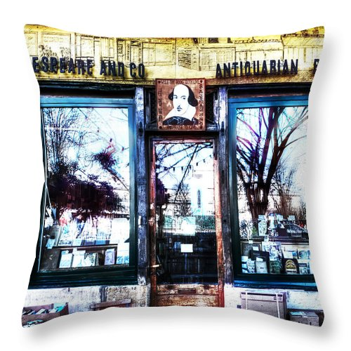 Evie Throw Pillow featuring the photograph Shakespeare Antiquarian Books Paris France by Evie Carrier