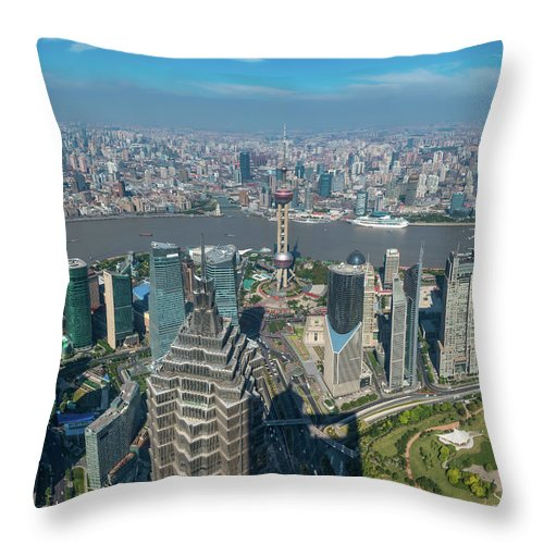 Chinese Culture Throw Pillow featuring the photograph Shanghai Aerial View Over Pundong by Fotovoyager