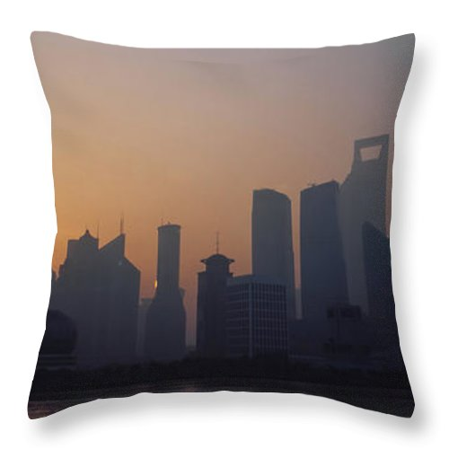 Tranquility Throw Pillow featuring the photograph Shanghai In Early Morning by Xijia Cao