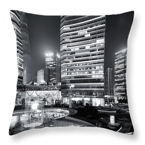Financial District Throw Pillow featuring the photograph Shanghai by Photographer - Rob Smith