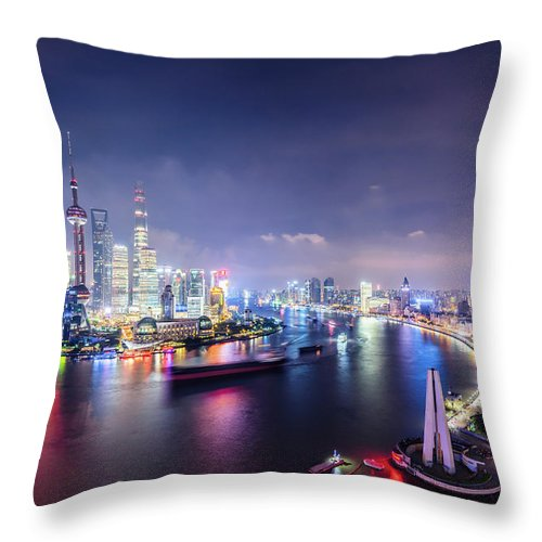 Downtown District Throw Pillow featuring the photograph Shanghai Skyline At Night by Yongyuan Dai