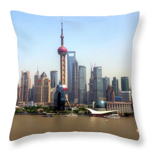 Outdoors Throw Pillow featuring the photograph Shanghai Skyline by Mariusz Kluzniak