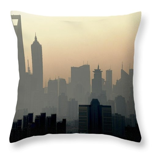 Dawn Throw Pillow featuring the photograph Shanghai Skyline Three Towers And Perl by Douglas Von Roy