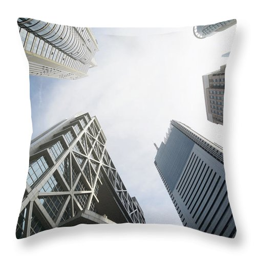 Downtown District Throw Pillow featuring the photograph Shanghai Stock Exchange,china - East by Zyxeos30