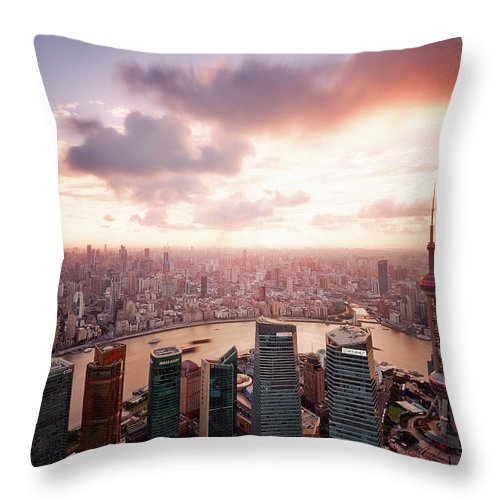 Tranquility Throw Pillow featuring the photograph Shanghai With Drifting Clouds by Blackstation