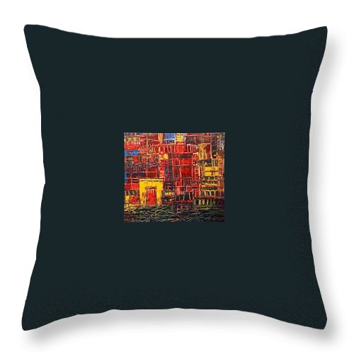 China Throw Pillow featuring the painting Shanghaied by Janice Nabors Raiteri