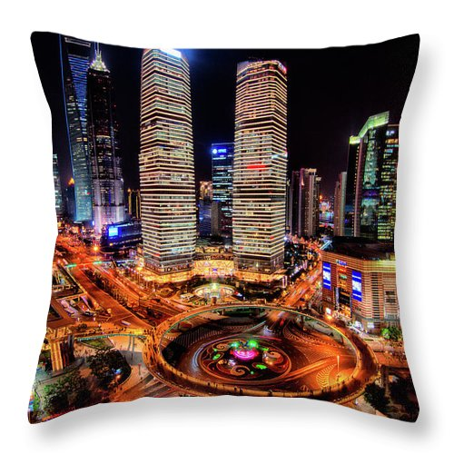 Financial District Throw Pillow featuring the photograph Shanghais Financial City Center by Mimo Khair Photography