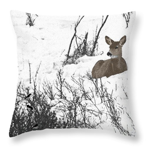 Deer Throw Pillow featuring the photograph Share The Land by Al Bourassa