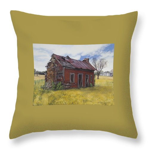 Landscape Throw Pillow featuring the painting Sharecroppers Shack by Peter Muzyka