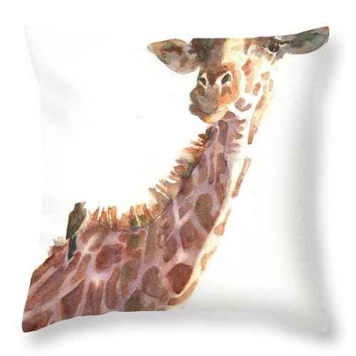 Giraffe Throw Pillow featuring the painting Sharing by John Dougan