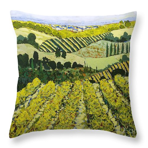 Landscape Throw Pillow featuring the painting Sharing The Discovery by Allan P Friedlander