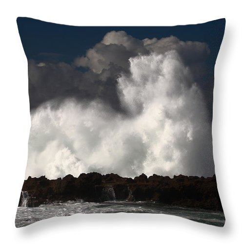 Sharks Cove Throw Pillow featuring the photograph Sharks Cove Crashing Wave by Richard Cheski