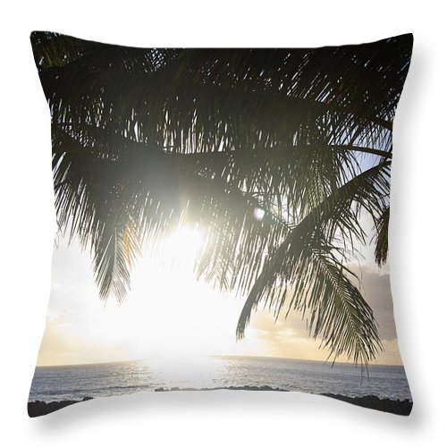 Background Throw Pillow featuring the photograph Sharks Cove Sunset by Brandon Tabiolo