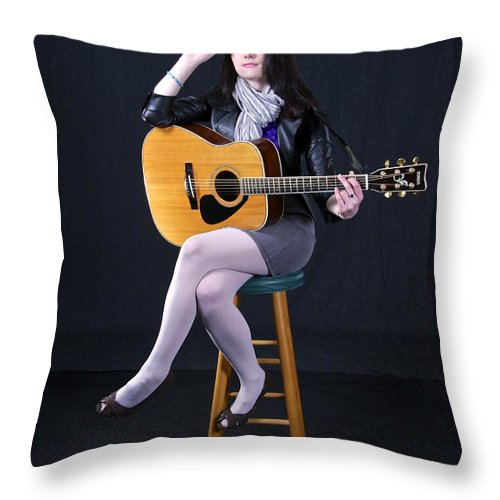 Photography Throw Pillow featuring the photograph Sharon With Guitar by Sean Griffin