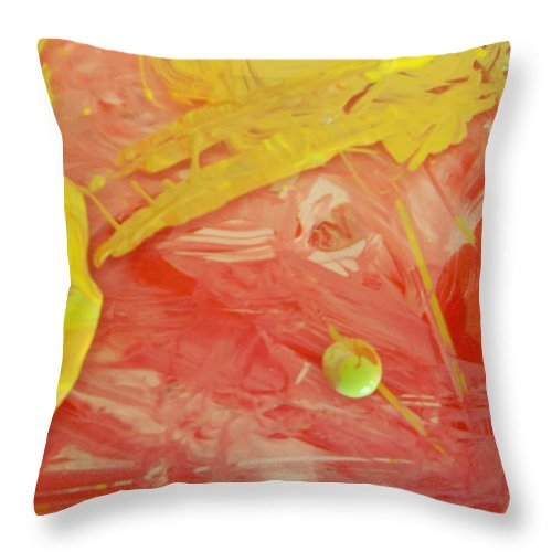 Original Throw Pillow featuring the painting She Carries The World by Artist Ai