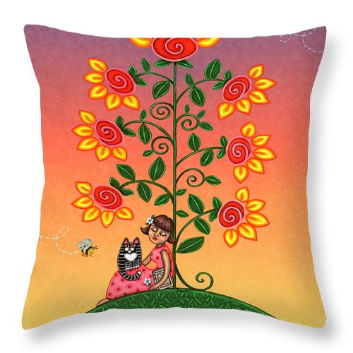 Folk Art Throw Pillow featuring the painting She Is Life Barnes And Noble by Victoria De Almeida