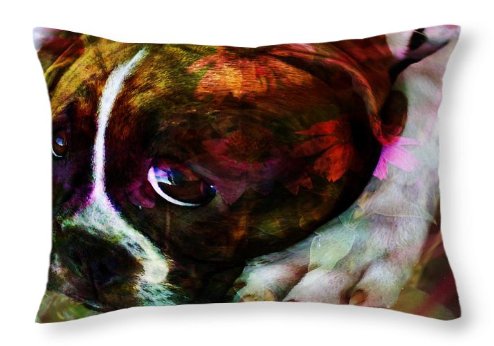 Dog Throw Pillow featuring the photograph She Loves The Garden - Dog by Marie Jamieson