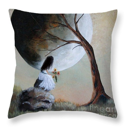 Fantasy Art Prints Throw Pillow featuring the painting Original Surreal Artwork By Shawna Erback by Artisan Parlour
