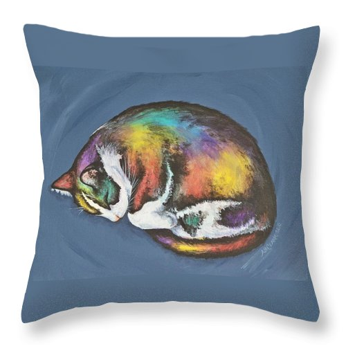 Throw Pillow featuring the painting She Purrs In Color by Beth Clark-McDonal