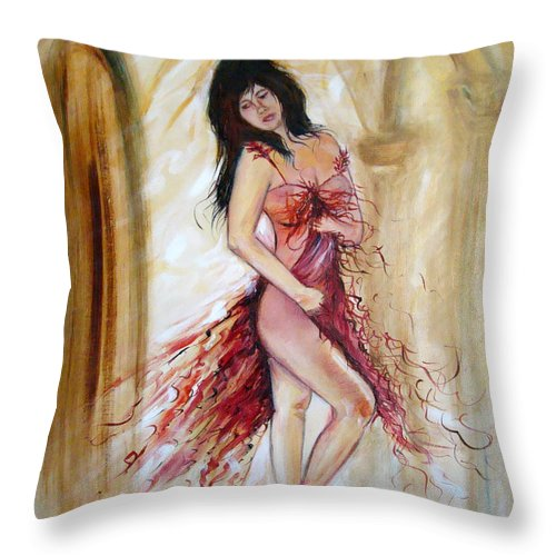 Contemporary Art Throw Pillow featuring the painting She by Silvana Abel