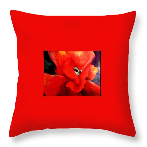 Floral Throw Pillow featuring the painting She Wore Red Ruffles by Gail Kirtz