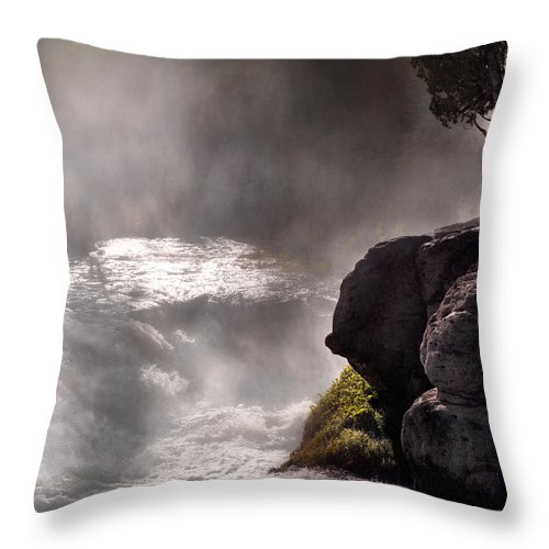 Cascade Throw Pillow featuring the photograph Sheep Falls Mist by Leland D Howard