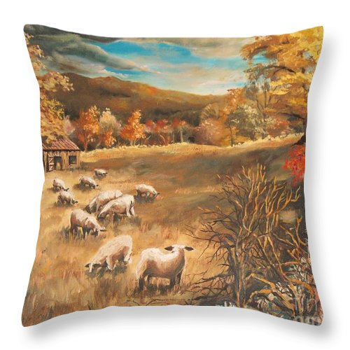 Oil Painting Throw Pillow featuring the painting Sheep in October's field by Joy Nichols