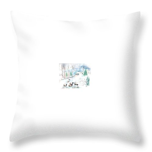Sheep Throw Pillow featuring the painting Sheep In Snow by Christine Lathrop