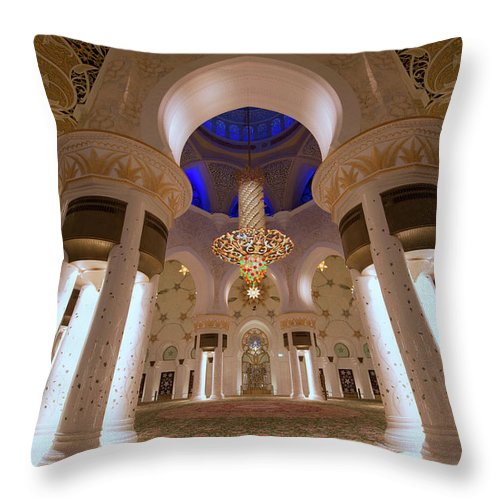 Arch Throw Pillow featuring the photograph Sheikh Zayed Grand Mosque by Dany Eid Photography