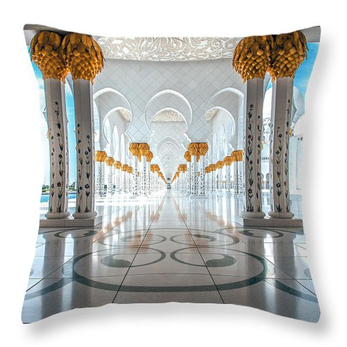 Uae Throw Pillow featuring the photograph Sheikh Zayed Grand Mosque by Robert Aycock