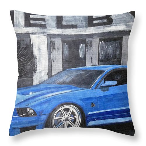 Shelby Throw Pillow featuring the painting Shelby Mustang by Richard Le Page