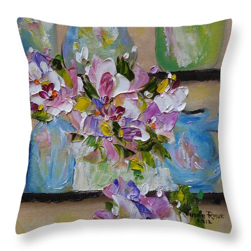 Flowers Throw Pillow featuring the painting Shelf Life by Judith Rhue
