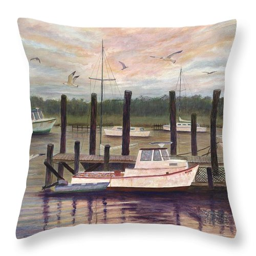 Charleston; Boats; Fishing Dock; Water Throw Pillow featuring the painting Shem Creek by Ben Kiger