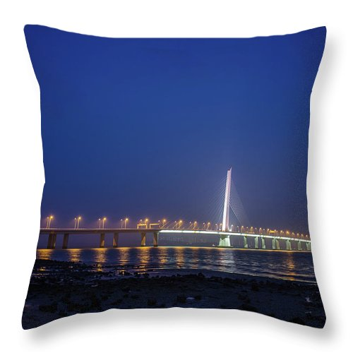 Tranquility Throw Pillow featuring the photograph Shenzhen Bay Bridge by Jeff Chen