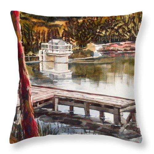Shepherd Mountain Lake In Twilight Throw Pillow featuring the painting Shepherd Mountain Lake In Twilight by Kip DeVore