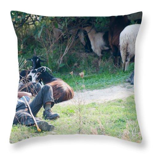 Greece Throw Pillow featuring the digital art Shepherd's Rest by Roy Pedersen