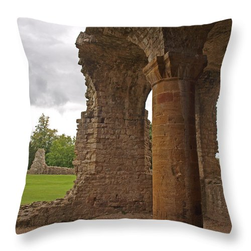 Sherborne Old Castle Throw Pillow featuring the photograph Sherborne Old Castle 6 by Michaela Perryman