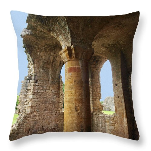Sherborne Old Castle Throw Pillow featuring the photograph Sherborne Old Castle 7 by Michaela Perryman