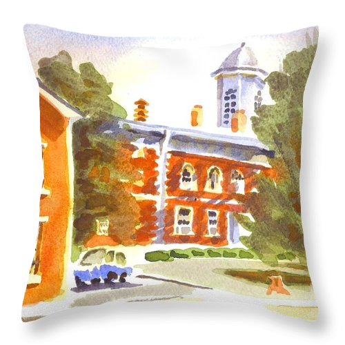Sheriffs Residence With Courthouse Throw Pillow featuring the painting Sheriffs Residence With Courthouse by Kip DeVore