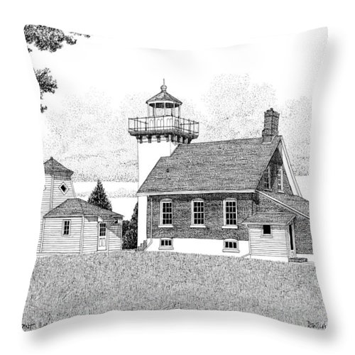 Pen And Ink Throw Pillow featuring the drawing Sherwood Point Lighthouse by David T Wilkinson