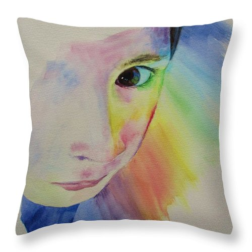 Abstract Throw Pillow featuring the painting She's A Rainbow by Martin Howard