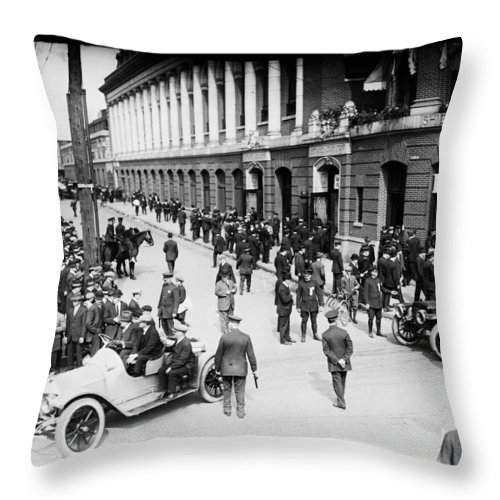 Shibe Park 1914 Throw Pillow featuring the photograph Shibe Park 1914 by Bill Cannon
