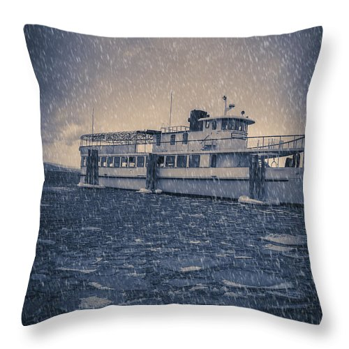 Vermont Throw Pillow featuring the photograph Ship In A Snowstorm by Edward Fielding