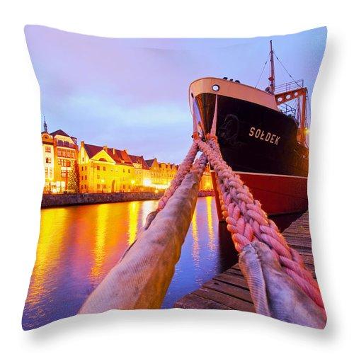 Ship Throw Pillow featuring the photograph Ship In Harbor by Karol Kozlowski
