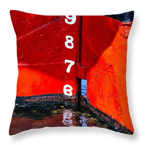 Ship Throw Pillow featuring the photograph Ship Waterline Numbers by Garry Gay