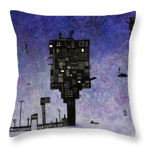 Ocean Landscape Throw Pillow featuring the painting Ships In The Night IIi by Andy Mercer