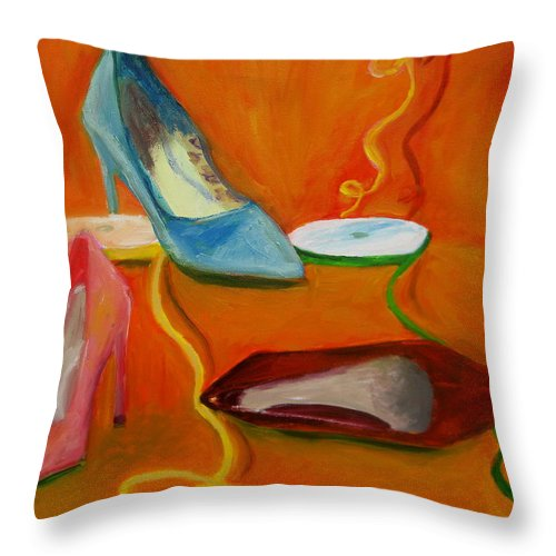 Shoes Throw Pillow featuring the painting Shoe Party by Marita McVeigh