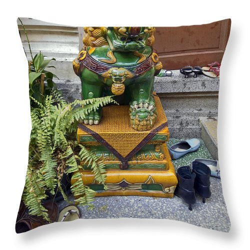 Shoes Outside Temple Throw Pillow featuring the photograph Shoes Outside The Temple by Sally Weigand