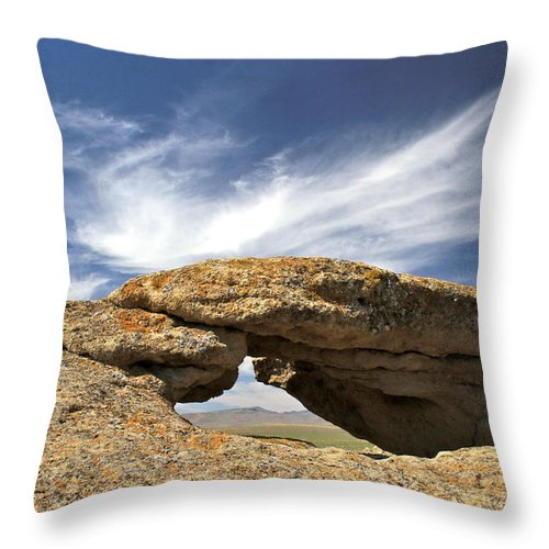 Desert Throw Pillow featuring the photograph Shoofly Arch Basin And Range by Ed Riche