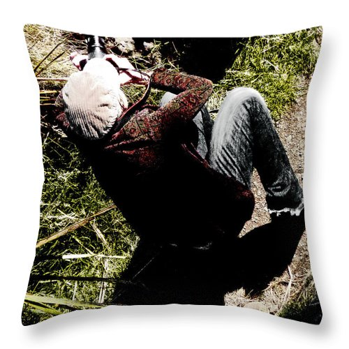 Lady; Corduroy; Cap; Jeans; Shadow; Portrait; Camera; Rock; Grass; Woman Throw Pillow featuring the photograph Shooting The Light by Steve Taylor